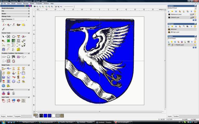 1. Beispiel: Wappen für Ring - Wachsfräsen